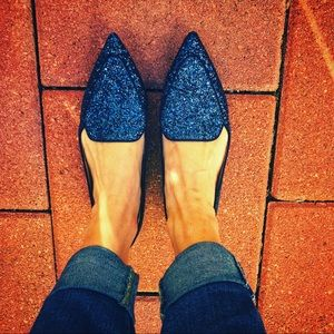 Sole Society Blue Sparkling Flats